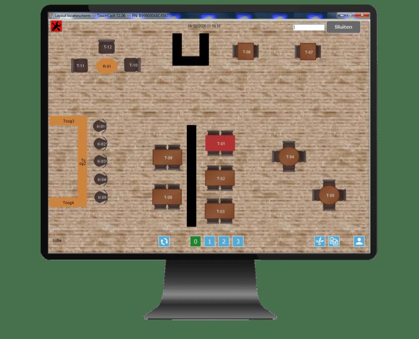 TouchCash kassasysteem locatie overzicht scherm